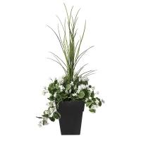 Jardinière en pot, géraniums blancs 40'', garantie 2 ans