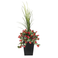 40'' Outdoor red geranium planter