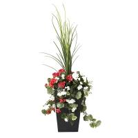 Jardinière en pot, géraniums rouges & blanc 40''