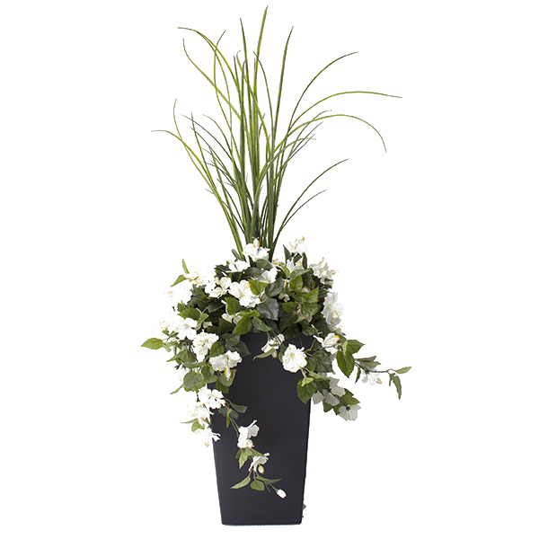 Jardini re en pot hibiscus blancs 40 39 39 d cors v ronneau for Arrangement floral exterieur