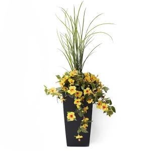 Jardinière en pot, hibiscus jaunes  40''