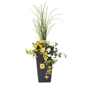 Jardinière en pot, hibiscus jaunes et blancs 40''