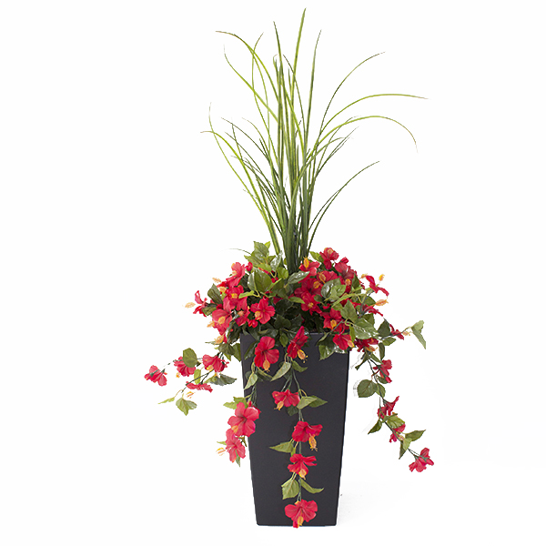 Jardini re en pot hibiscus rouges 40 39 39 d cors v ronneau for Arrangement floral exterieur
