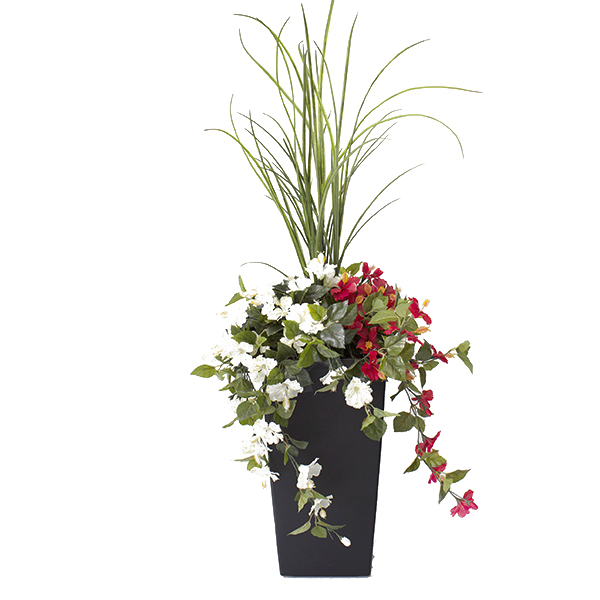 Jardini re en pot hibiscus rouges et blancs 40 39 39 d cors for Arrangement floral exterieur