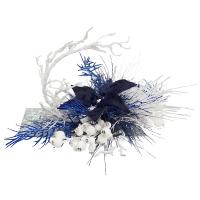 White arrangement with royal blue poinsettia 13 x 20''