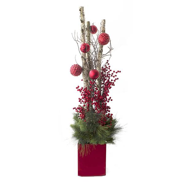 Arrangement illumin avec bouleau boules et baies 5 5 for Decoration de noel exterieur avec bouleau