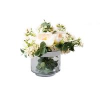 Arrangement pivoine, vase en verre