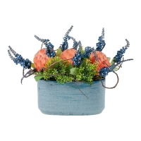 Colorful Spring Arrangement in Blue Vase
