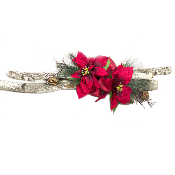 arrangement rouge avec bouleau et fleurs de no l 32 39 39 d cors v ronneau. Black Bedroom Furniture Sets. Home Design Ideas