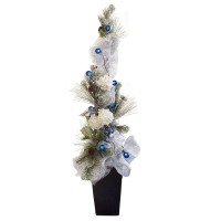 Arrangement with fir branches, tulle, flowers and lights, 6,