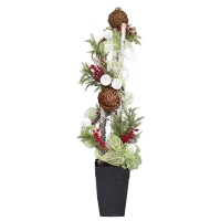 Arrangement with fir branches, vine ball and berries, 6'