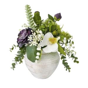 Petit bouquet en vase, fleurs et plantes grasses
