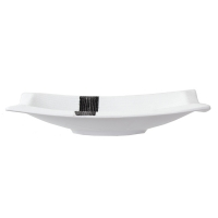 Assiette blanche carré en céramique 12x7x2,4''