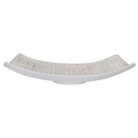 Assiette blanche/grise en céramique texturée, 18 x 5,5''