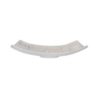 Assiette blanche/or en céramique texturée, 14 x 4,5''