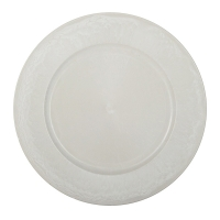 13'' Light grey plastic charger. For decorative use only