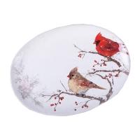 Assiette de présentation oval, cardinal