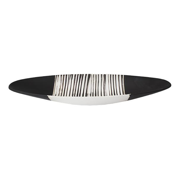 assiette ovale en c ramique noire et blanche 6 x 20. Black Bedroom Furniture Sets. Home Design Ideas