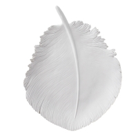 White feather plate, 10 x 1.5 x 12.5''