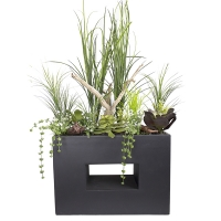 Modern planter with succulent, grass and wood