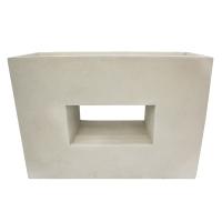 Off white modern fiberglass planter 29,5 x 10,5 x 21''