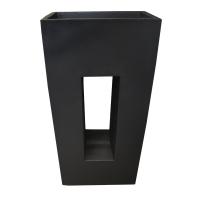 Black modern fiberglass planter 17,5 x 10,5 x 38''