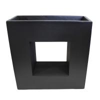 Black modern fiberglass planter 27 x 11,5 x 27''