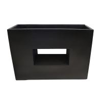 Black modern fiberglass planter 29,5 x 10,5 x 21''