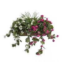 Balconnière de géraniums roses & blancs 28''