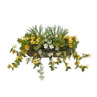 Balconnière d'hibiscus jaunes & blancs 28''