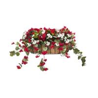 Balconnière d'hibiscus rouges & blancs 28 x 18''