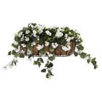 Balconnière de géraniums blanc 28''