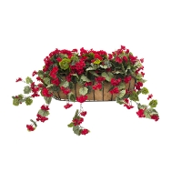28'' Red geranium outdoor wall planter
