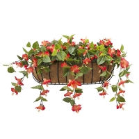 28'' Orange hibiscus outdoor wall planter