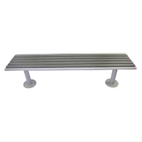 6' Grey backless park bench