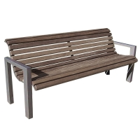 Brown park bench with arm rest 6'