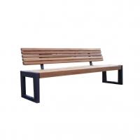 Banc moderne en bois synthétique gris avec dossier 6'