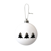 Set of 6 White Ornaments with Silver Christmas Trees, 3''