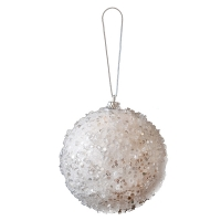 White Glitter Ball Ornament, 4''