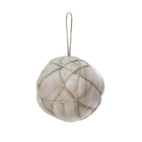 White wool & jute ball ornament, 4''