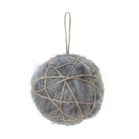 Grey wool & jute ball ornament, 4''