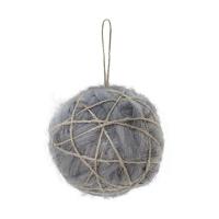 Boule de Noël en laine grise 4''