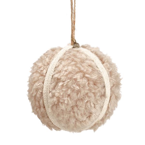 Boule de Noël en fausse fourrure, 4,75''   Décors Véronneau