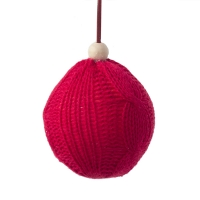 Red wool ball ornament, 3,25''