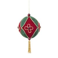 Boule en tissu rouge et vert avec gland 3,5''