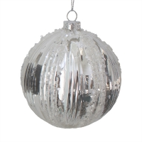 silver molded glass ball, 4''