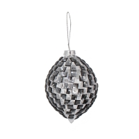 black diamond glass ornament, 5''