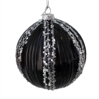 black and silver molded glass ball, 4''