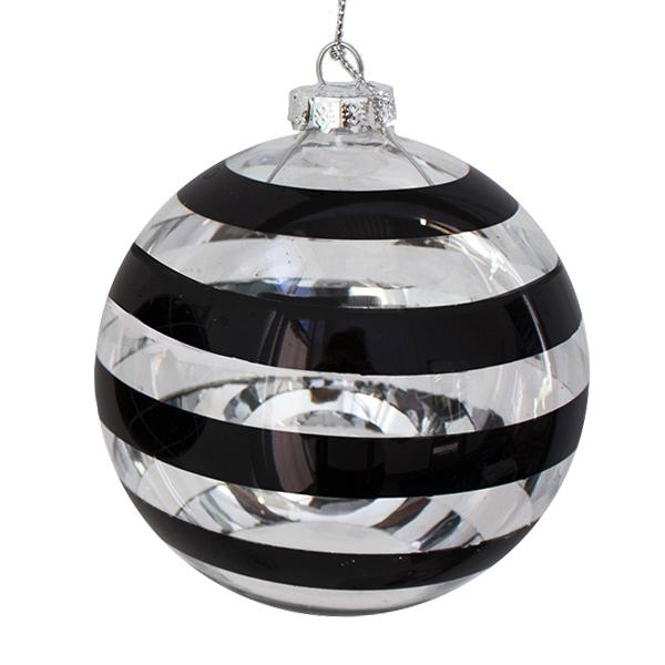 boule en verre ray noir et argent 4 39 39 prix unitaire d cors v ronneau. Black Bedroom Furniture Sets. Home Design Ideas