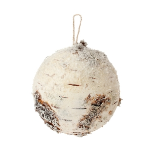 Snowy faux birch ball ornament 5''